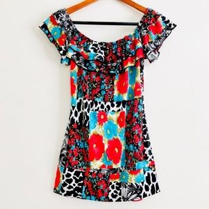 Wet Seal Floral & Animal Patchwork Ruffle Top